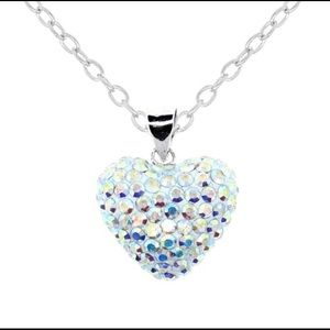 Sterling Silver AB Crystal Puff Heart Necklace
